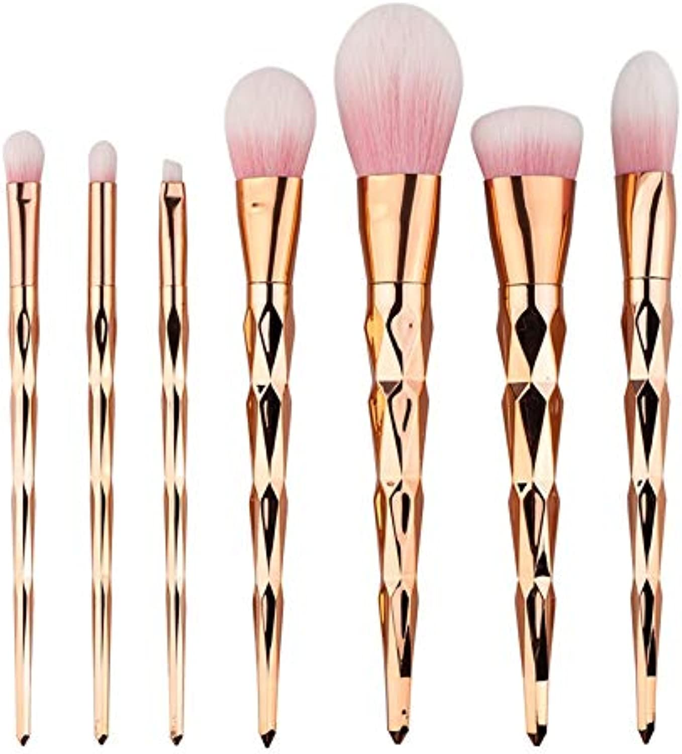 Fashion High end 7pcs colorful Diamond Makeup Brushes(gold) Highlighter Brush, Halo Dye Brush, Eye Shadow Brush, Eyebrow Brush with OPP Bag Pretty (color   gold, Size   19  12  3)