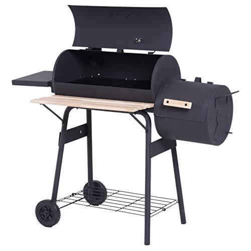 Outsunny Smoker Grill BBQ Holzkohlengrill Grillwagen Multifunktion mit 2 x Brennkammer Schornstein Metall + Tannenholz Schwarz 124 x 53 x 108 cm