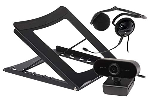 Maplin Paquete de Oficina en casa con micrófono, cámara Web FullHD y Soporte para Ordenador portátil