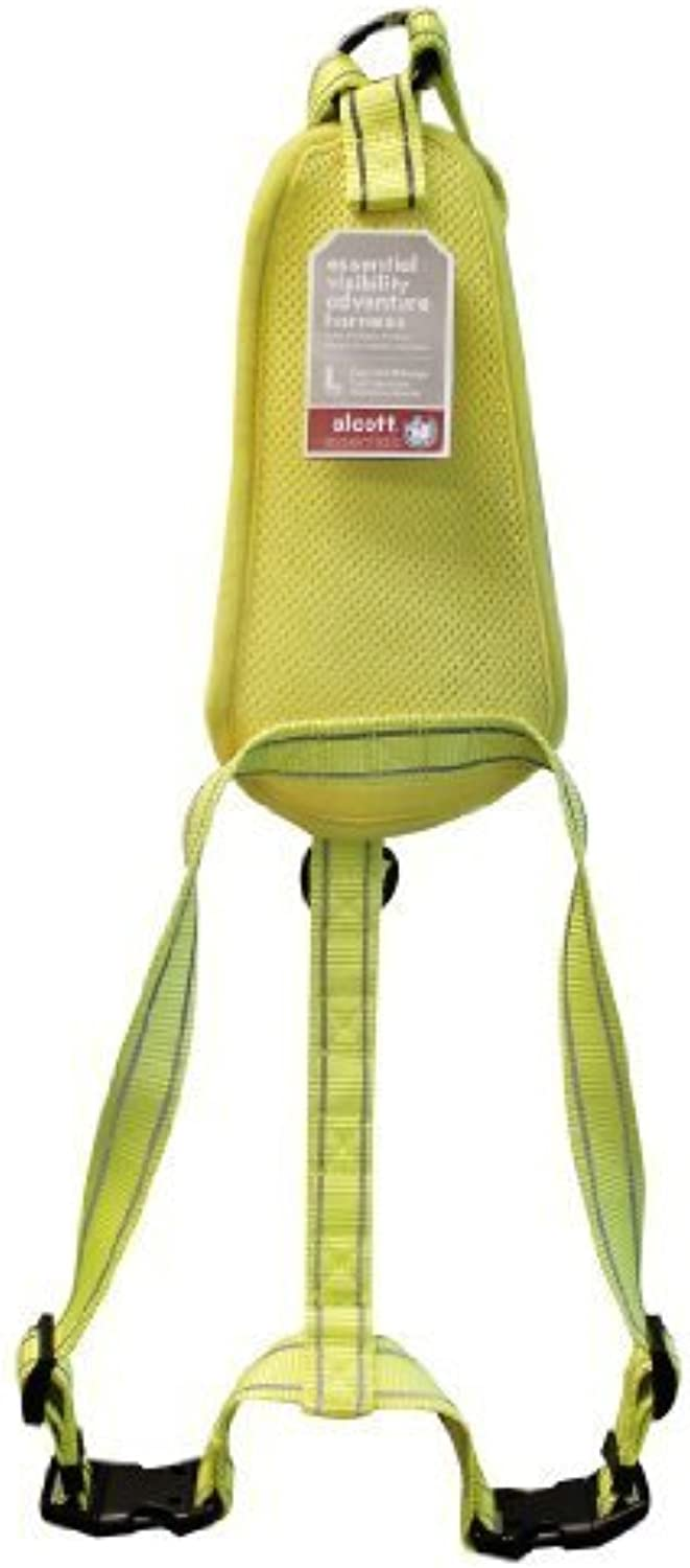 Alcott Essentials Visibility Adventure Pet Harness, Large, Neon Yellow Nylon with Reflective Accents by Alcott (English manual)