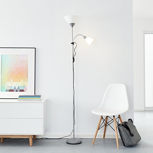 Clásico LED–Lámpara de pie con brazo de lectura, 1x 10W E27LED/1x 3W E14LED Incluye, 810lúmenes, 2700K, metal/plástico, plata/blanco