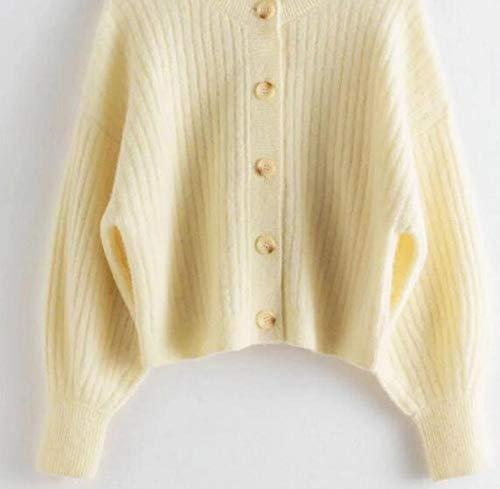 SDRYGHS Tops de Verano para Mujeres Mujeres suéter otoño Invierno Nuevo Lana Mezcla Acanalado botón Tejido cárdigan (Color : Yellow, Size : S)