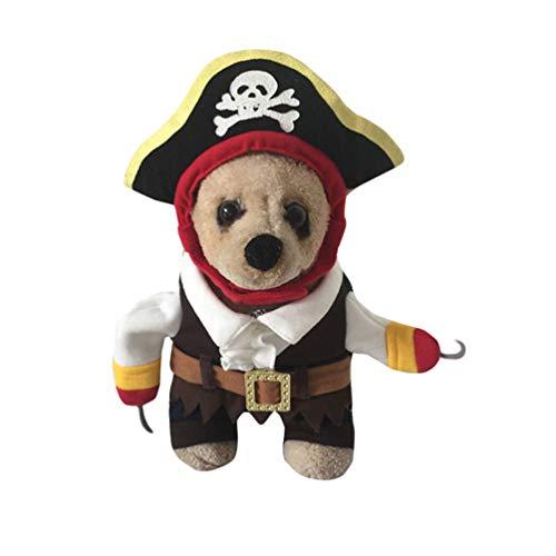 Jitong Travestimento Halloween per Animali Domestici, Costume da Pirata Abbigliamento Cane Gatto con Cappuccio (Cartoon, Size S)