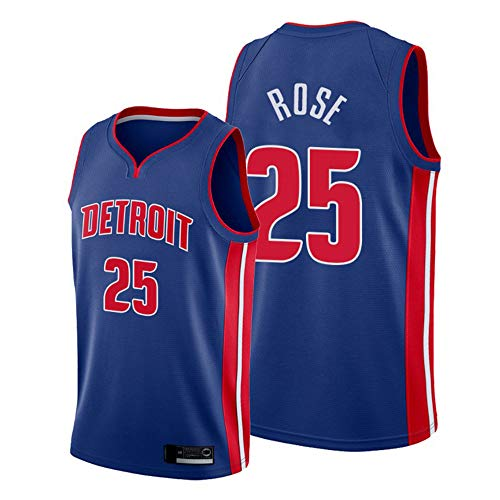 Wo nice Camisetas De Baloncesto De Los Hombres, Detroit Pistons # 25 Derrick Rose Uniformes De Baloncesto De La NBA Tops Sin Mangas Camisetas Casual Chalecos Deportivos,Azul,XXL(185~190CM)