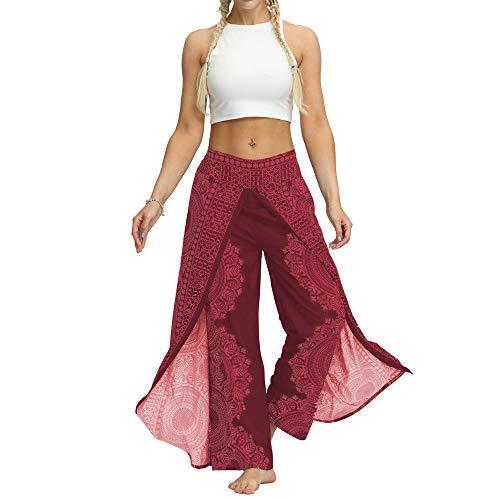 Voigoo Frauen-Boho Wide Leg-Hosen, Sommer-beiläufige Breath gedruckt Lange Hose Fitness Yoga Pants (Color : Red, Size : S/M)