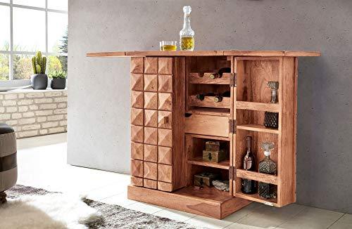 KADIMA DESIGN Moderner Designer Hausbar ARIS Massivholz Akazie Weinbar ausklappbar Vitrine im Landhausstil Barschrank Aufbewahrung für Flaschen Gläser