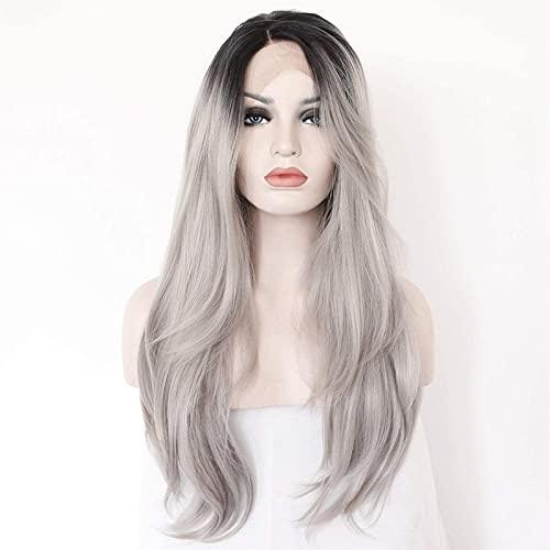 Peruk, Europa och Förenta staterna front spets grå lång lockig hår peruk kvinnlig, mormor grå stor våg peruk chenghuax