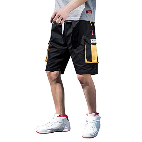 Men's Classic-Fit Cargo Short Pocket Mens Casual Shorts Workout Fashion Comfy Breathable Loose Shorts Yellow