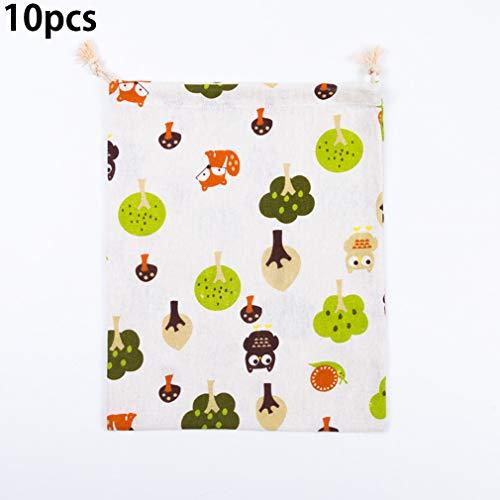 Aiya 10PCS-Herbruikbare eco-vriendelijke katoenen linnen tas, cartoon bedrukte boeket zak, fruit en groente speelgoed opbergzak