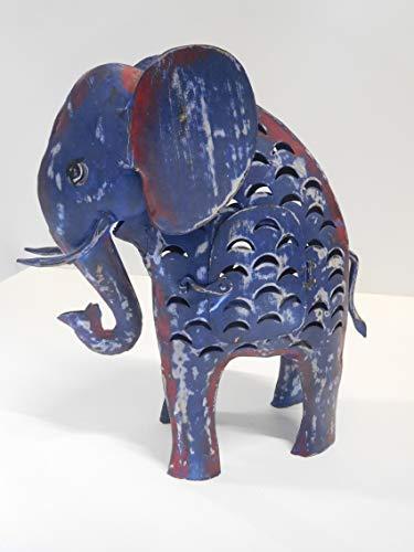 Elefant Laterne Windlicht Metall blau Shabby Landhaus 42 cm