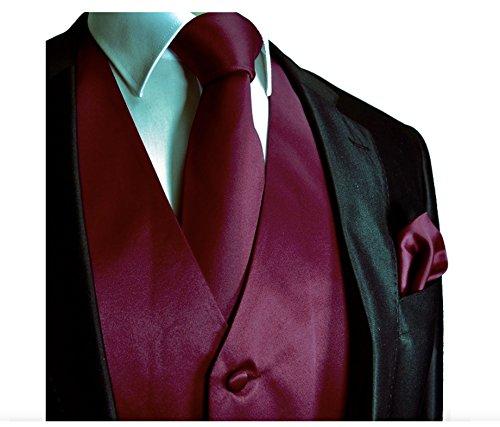 Brand Q 3pc Men's Dress Vest NeckTie Pocket Square Set for Suit or Tuxedo (XL (Chest 46), Burgundy)