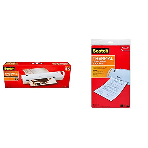 Scotch Advanced Thermal Laminator, Extra Wide 13-Inch Input, 1-Minute Warm-up (TL1302VP) & Thermal Laminating Pouches, 8.9 x 14.4-Inches, Legal Size, 20-Pack (TP3855-20)