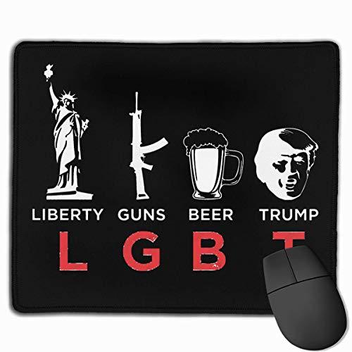 Lustige LGBT Liberty Guns Bier Parodie - Trump Mauspads rutschfeste Gaming Office Mauspad Rechteckige Gummi Mauspad