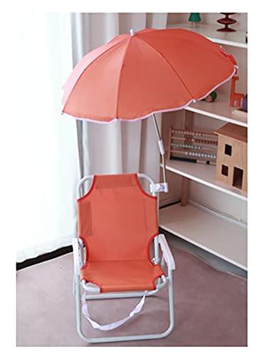 109 Silla de Camping Silla de Camping para niños Silla Plegable con Paraguas Silla Plegable para niños (Naranja) Puede Contener 28 kg (24X32X123cm)-Naranja 24x32x123cm