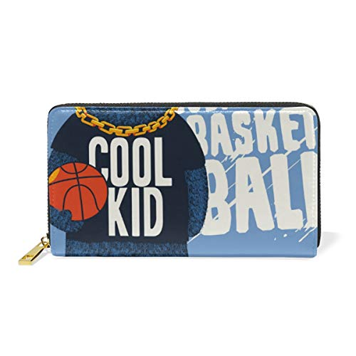 Cool Bear Basketball Kid Wallet Real Leather Zipper Coin Phone Purse Clutch for Women