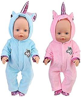 WENTS Disfraz de Unicornio Bebe Baby Born Onesie Unicorn Pelele de muñeca Ropa de Bebe Unicornio para Muñecas de Bebé en T...