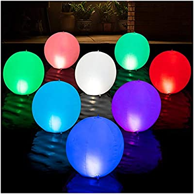HAPIKAY Solar Floating Pool Lights - Pack of 2 Solar Powered Color Changing 14-inch Balls - Float or Hang in Pool Garden Backyard Pond Party Decorations - Inflatable Wateproof RBG Lights Accessories
