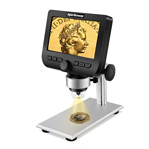 WiFi LCD Microscope with 32GB Card, Elikliv 4.3 Inch 1000X Magnification USB Coin Microscope Video Camera Recorder for Coin Observation