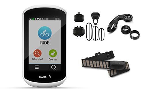 Garmin Edge Explore - GPS-Fahrradcomputer - Bundle inkl. Geschwindigkeits- und Trittfrequenzsensor, Herzfrequenzbrustgurt HRM Premium und Aero Lenkradhalterung