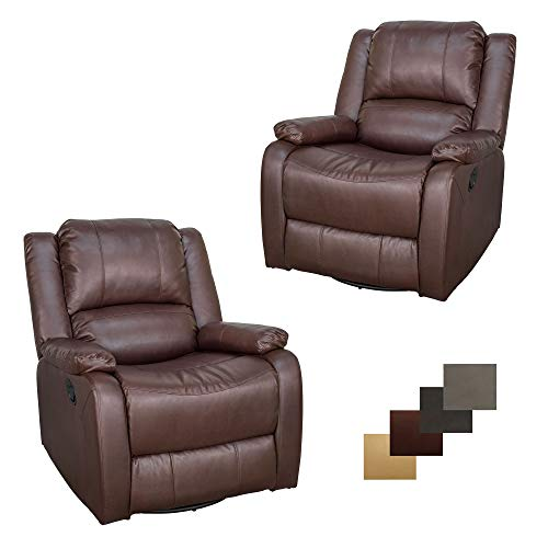 Set of 2 | RecPro Charles Collection | 30' Swivel Glider RV Recliner | RV Living Room (Slideout) Chair | RV Furniture | Glider Chair | Mahogany