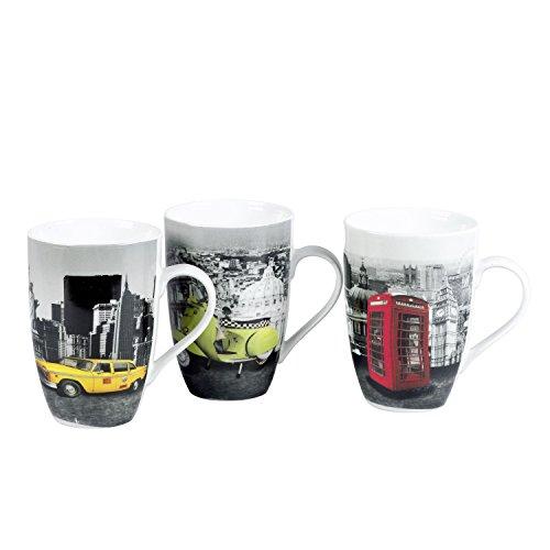 Domestic Mäser 420442 Kaffeebecher 'Downtown' 550ml, Mehrfarbig (Modell zufällig, 6 Stück)