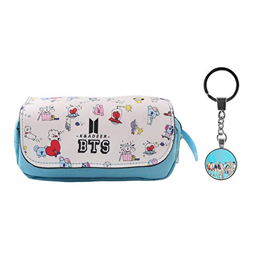 Youyouchard BTS Pencil Case Pen Bag Large Capacity Canvas Pencil Bag Pouch Stationary Case Makeup Cosmetic Bag(H01)