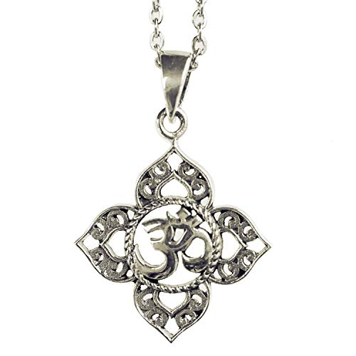 Lotus Om Anhänger mit Kette aus Sterling Silber Schmuck Blume Mandala Yoga Aum Amulett Meditation
