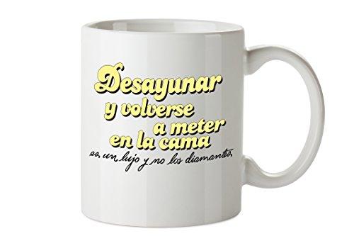 Planeta Gifts La Vecina Rubia Taza Mug 'Desayunar', Colección TanTanFan, Cerámica, Blanco, 8x10x10 cm