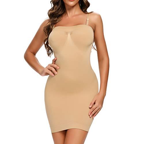 Joyshaper Miederkleid Stark Formend Damen Unterkleid Shapewear mit Trägern Bauch Weg Figurformendes Unterröcke Formkleid Formende Kleide (Beige-Neu, X-Large)