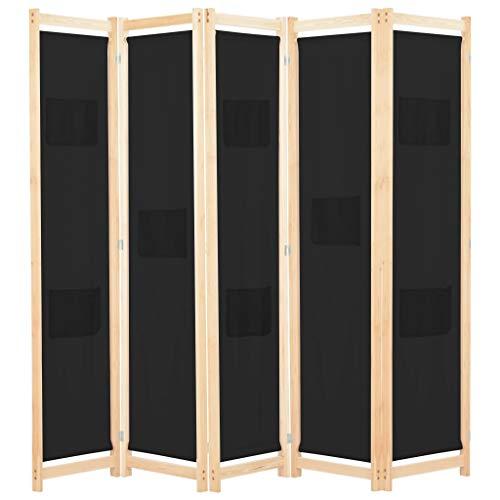vidaXL Biombo Divisor de 5 Paneles de Tela Decoración Hogar Casa Jardín Bricolaje Salón Comedor Ambientes Habitaciones Separador 200x170x4 cm Negro