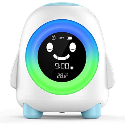 Digitaler Wecker für Kinder, mit 5 wechselbaren Farben, Nachtlicht, Innentemperatur, Nickerchen, Baby, Kinder, Schlaftraining, Nachttischuhr (Pinguin)