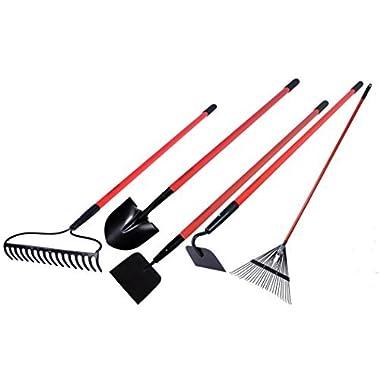 GardenAll Garden Tools Set - Include Round Point Garden Shovel/12 Guage Garden Hoe/Steel Rake/Bow Rake/Garden Scraper with Fiberglass Handle-5 Pieces
