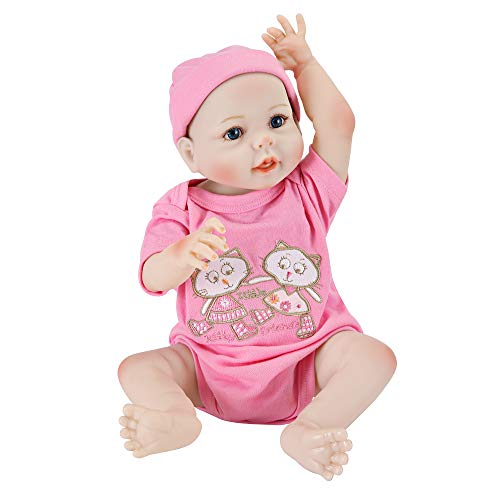 UCanaan Reborn Baby Dolls 20 Inch Lifelike Baby Reborn Toddler Girl Full Silicone Body Toy with Gift Set