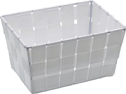 WENKO Aufbewahrungskorb Adria Mini Weiß - Badkorb, rechteckig, Kunststoff-Geflecht, Polypropylen, 19 x 9 x 14 cm, Weiß