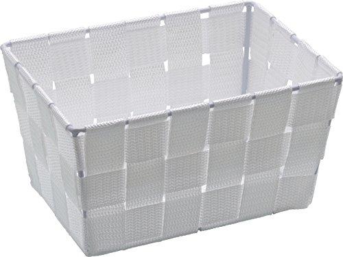 WENKO 20361100 Aufbewahrungskorb Adria Mini Weiß - Badkorb, rechteckig, Kunststoff-Geflecht, Polypropylen, 19 x 9 x 14 cm, Weiß