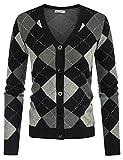 Women's Vintage 90s Cardigan Sweater Argyle Style Y2k Sweaters Short Cardigan for Women Lightweight(Plaid Black Gray,M)