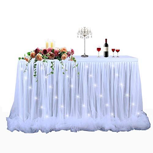 HBBMAGIC LED Tischrock Weiß Tüll Tischdeko Party deko Für Babyparty mädchen, Hochzeit, Geburtstag, Weihnachten, Candy bar zubehör(Weiß,183cm*76cm)