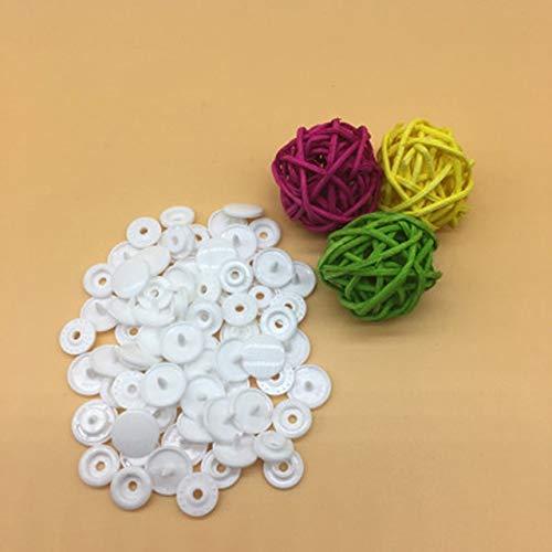 JINSUO SFFSM - Juego de 100/150/200 botones de resina para bebé T5 broches de plástico para ropa, accesorios de ropa, broches de presión (color: blanco, tamaño: 100 juegos)