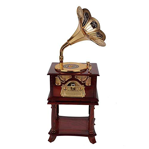 Strnek Music Box,Fding Classical Trumpet Horn Turntable Gramophone, Art Disc Music Box & Make up Case &Jewelry Box Home Decor (Brown/White) (Brown)