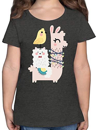 Tiermotive Kind - Tiere aufgereiht - 152 (12/13 Jahre) - Anthrazit Meliert - Statement - F131K - Mädchen Kinder T-Shirt
