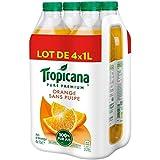 Tropicana Jus d'orange sans pulpe - Les 4 bouteilles de 1l