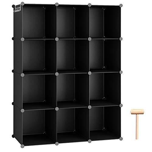 "C&AHOME Cube Storage Organizer, 12-Cube Shelves Units, Closet Cabinet, DIY Plastic Modular Book Shelf, Ideal for Bedroom, Living Room, Office, 36.6"" L x 12.4"" W x 48.4"" H Black"