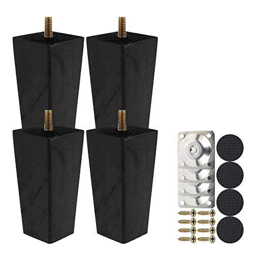 Juego de 4 patas de madera rectas de 10 cm, juego de patas de mesa baja de madera, con tornillo M8 antideslizante y placa de montaje para sofá, cama, silla de noche, armario (color negro, 10 cm)