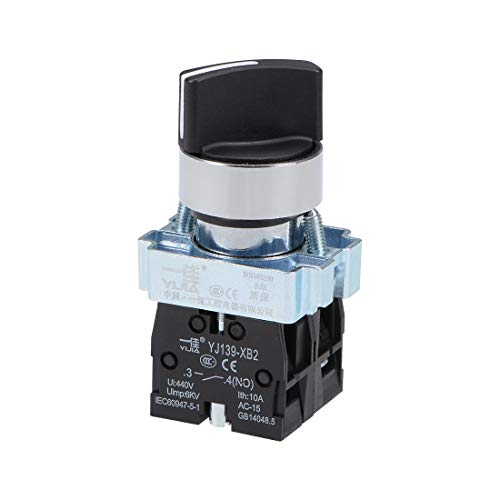 uxcell Rotary Selector Switch 2 Positions 2NO Self-Lock Latching AC 380V 10A 22mm Panel Mount