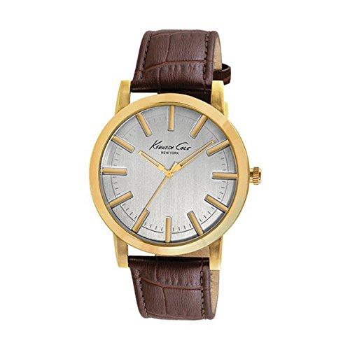 Eurowebb herenhorloge, goudkleurig, met leren armband (43,5 mm)