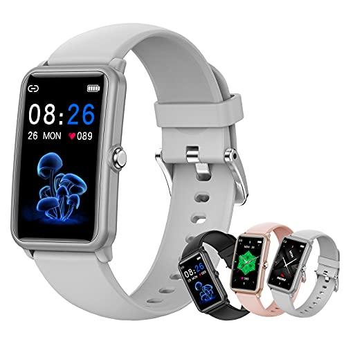 HQPCAHL Reloj Inteligente Smartwatch, Monitor De Ciclo Menstrual Femenino, Frecuencia Cardíaca, Presión Arterial, Sueño, Rastreador De Salud para Teléfonos Android iOS,Gris