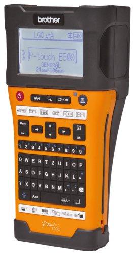Brother PT-E500VP Industrielles Beschriftungsgerät inkl. USB-Schnittstelle, Li-Ion Akku, Netzadapter u. Transportkoffer (für TZe-Schriftbänder u. HSe-Schrumpfschläuche, Thermotransfer-Druckverfahren)