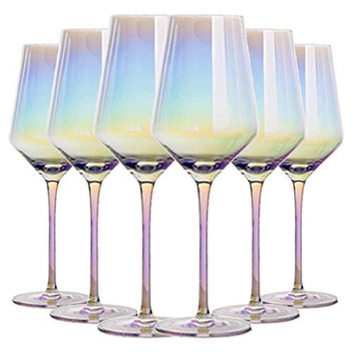 Copa De Vino De Cristal con Forma De Burbuja Arcoíris Copa De Cristal Sin Plomo Copa De Vino Única Copa De Vino para Fiesta Familiar De Celebración, 450 Ml (Color : Clear, Size : 7.8 * 24cm*6)