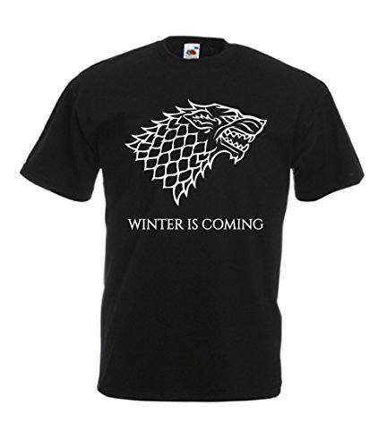 T-Shirt Maglietta Game of Thrones Trono di Spade Winter IS Coming Uomo (XLarge, Nero)