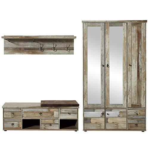 Bonanza Vintage Garderoben Set in Driftwood Optik - Retro Flurgarderobe für Ihren Eingangsbereich - 255 x 188 x 40 cm (B/H/T)